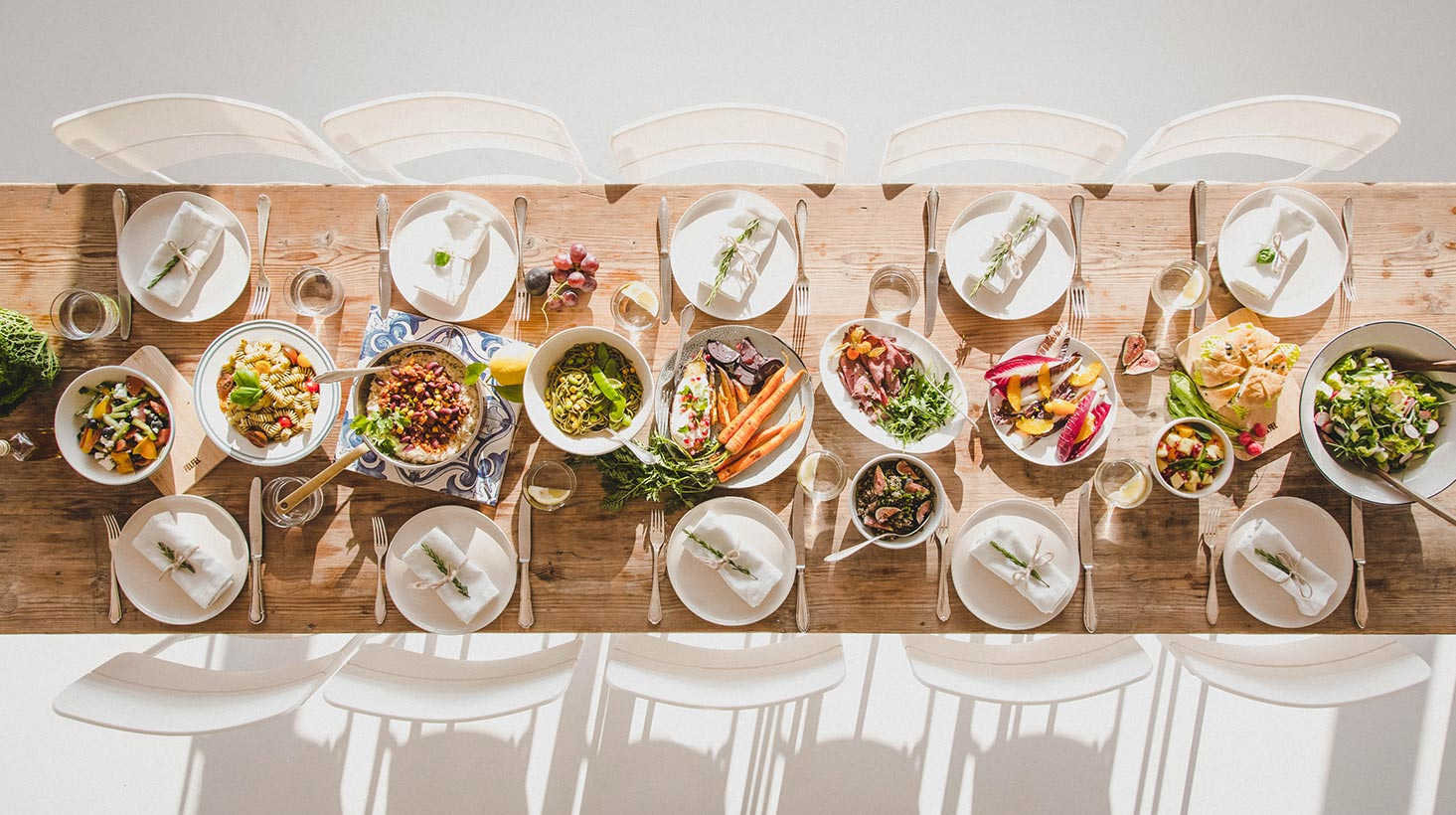 Symmetric Table with food in middle